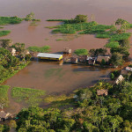 Riverine community inundated during the annual floods.