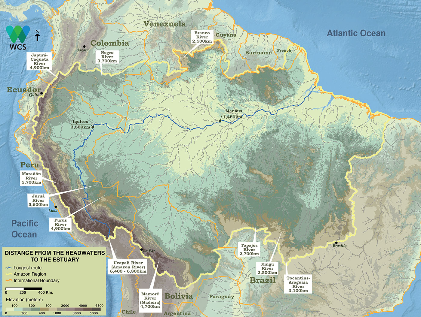 The Amazon River's farthest headwaters are nearly 6,800 km from the Atlantic by way of the tributaries and main stem.